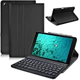 DETUOSI Wireless Bluetooth Keyboard Case for Samsung Galaxy Tab A 8.0' 2019 (Model: SM-T290/T295/T297) Tablet, Multi-Angles Viewing Stand Protective Leather Shell Cover with Detachable Keyboard #Black