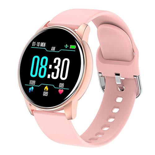 Women Smart Watch Pronóstico del Tiempo en Tiempo Real Actividad Tracker Tarifa cardíaca Monitor Sports Ladies Smart Watch Men para Android iOS-Rosa