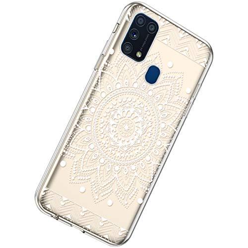 Herbests Kompatibel mit Samsung Galaxy M31 Hülle Silikon Weich TPU Handyhülle Durchsichtige Schutzhülle Niedlich Muster Transparent Ultradünn Kristall Klar Handyhülle,Weiße Mandala