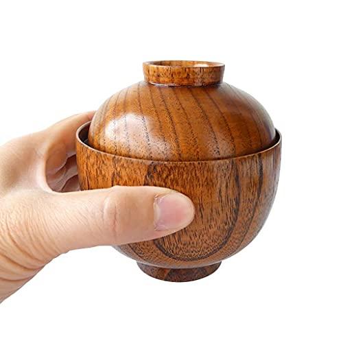 FHISD Cuenco japonés pequeño de Madera con Tapa, Cuenco de Madera Hecho a Mano, Taza, para arroz, Sopa, Salsa, café, té, decoración