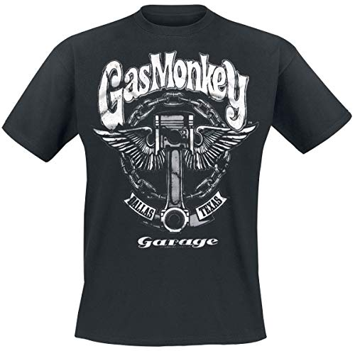 Gas Monkey Garage Big Piston Männer T-Shirt schwarz S 100% Baumwolle Fan-Merch, Rockabilly, TV-Serien
