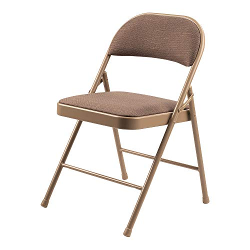 Oklahoma Sound Corporation Commercialine 900 Series Fabric Padded Portable Folding Chair with 19-Gauge Steel Frame, Star Trail Brown - 4 Pack