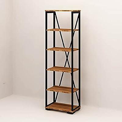Homemania Bibliothèque Primon-avec Étagère-pour Mur, Bureau, Studio, Salon-Noyer, Noir en Bois, Métal, 51 X 30 X 162cm, Penneau de Particules