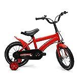 Yunrux - Bicicleta infantil de 14 pulgadas para niños y niñas, con ruedas de apoyo para 3 a 6 años, bicicleta de camping con marco de acero al carbono, estable, unisex, para niños, 95 – 125 cm rojo