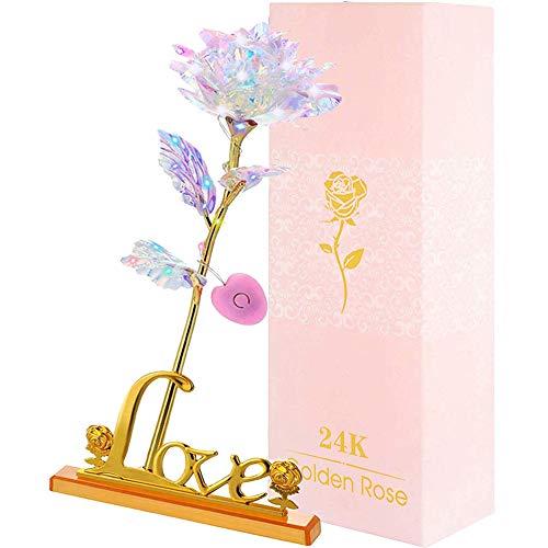 PASDTFB 24K Gold Rose für Muttertag Valentinstag Geburtstag Hochzeitstag Jahrestag Christmas Day, Künstliche Galaxy Rose Geschenk für Sie Frauen Freundin Oma Mutter (Pink (mit Licht))