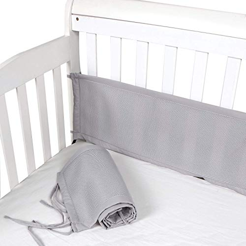 XOXE-LOVE Mesh Crib Bumper Breatheable Baby Mesh Crib Liner Safe for Boys and Girls Gery Baby Crib Bumper 52 ×12 Inch 2 Pieces