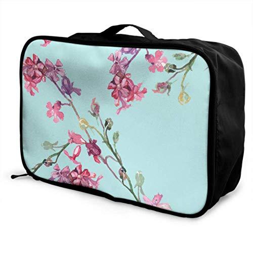 Custom Best Travel Duffel Bag Lightweight Pink Beautiful Flowers Carnation Luggage Garment Bag Foldable Portable Storage Luggage Bag With Trolley Sleeve