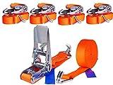 4 x 800 kg 6 m Cinghia Con Cricchetto e Gancio Cinghia Di Tensione Cinghie Tiranti Cinghia Di Fissaggio due parti 25mm