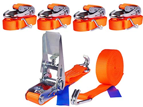 INDUSTRIE PLANET 4 x 800kg 6m Spanngurt mit Ratsche Zurrgurte 25mm orange Ratschengurt Ladungssicherung