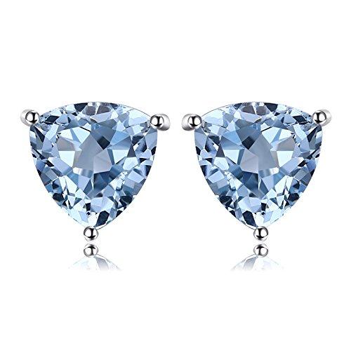 JewelryPalace Pendientes 1.9ct Genuino Topacio azul cielo Trillion Natural Piedra de nacimiento Aretes Plata de ley 925
