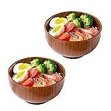 Cuencos para fideos 2 Cuencos De Madera De Estilo Japonés para Arroz, Vajilla, 6.2 Pulgadas para Desayuno, Sopa, Salsa, Café, Té, Decoración, Apto para Veganos