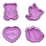 Gowsch Stampo per Biscotti Set di formine per Biscotti per San Valentino Set di stampini per Pasta a Forma di Cuore di Orso di Cuore di Orso di Uccello
