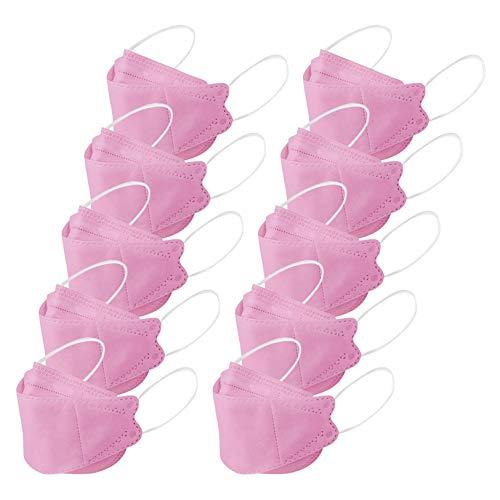 Rioge 10 Stück Erwachsene Mundschutz, Tröpfchen- und Staubschutz Fischförmige Vliesstoffe Mund_Bandana_Màsḱѐ Mund Nasenschutz Atmungsaktiv Halstuch Schals Rosa