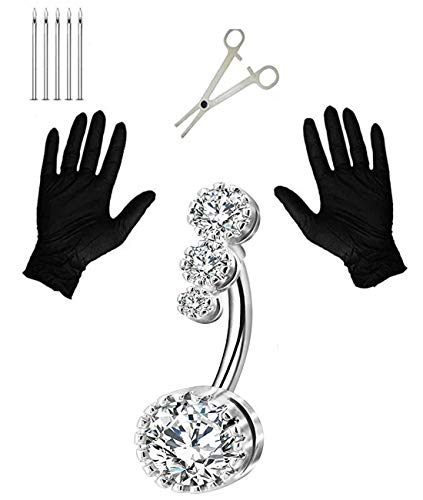 Jconly 14G Belly Piercing Kit 316L Surgical Steel Belly Button Rings Clear CZ Navel Rings Belly Rings with Piercing Clamp Piercing Needles for Belly Piercing …