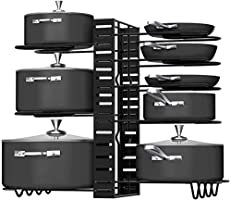 Callas 8 Tiers Pots and Pans Organizer, Adjustable Pot Lid Holders & Pan Rack for Kitchen Counter and Cabinet, Lid...