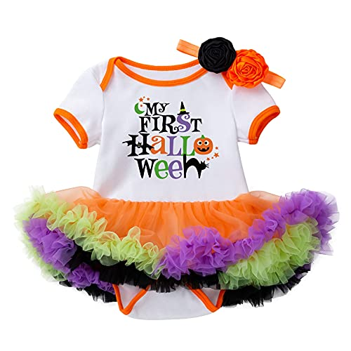 LNL Costume di Halloween per bambine, con tutù e fascia per capelli, set da 2, multicolore, 6-12 Mesi