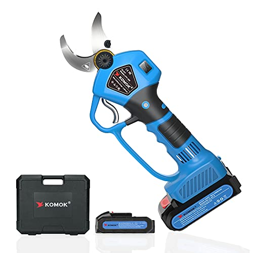 KOMOK Professional Cordless Electric Pruning Shears Secateurs, Smart Garden Orchard Tools 2 Rechargeable 2Ah Battery Tree Branch Pruner with Power Display 35mm/1.38Inch, 6-8 Working Hours