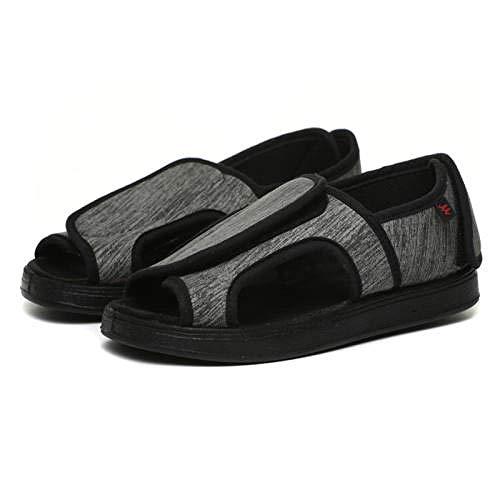 TDYSDYN Zapatillas de Velcro para Mayores,Sandalias Ajustables ensanchadas, Puede Usar Zapatos de Tela con deformación en valgo del pulgar-40