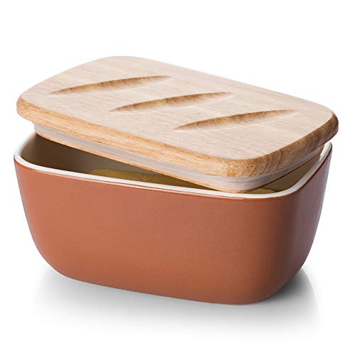 DOWAN Porcelain Butter Dish - Covered Butter Container with Wooden Lid for Countertop, Farmhouse Butter Dish with Covers Perfect for East West Coast Butter, Orange