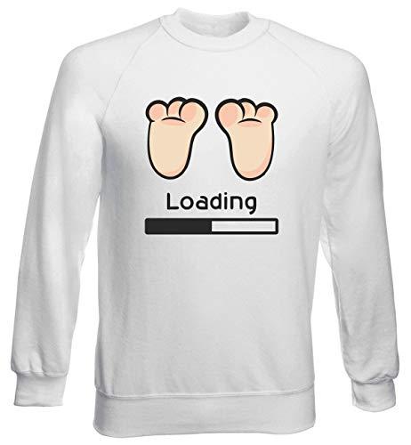 T-Shirtshock Sweatshirt Ras du Cou por Homme Blanc T0963 Baby Loading Fun Cool Geek