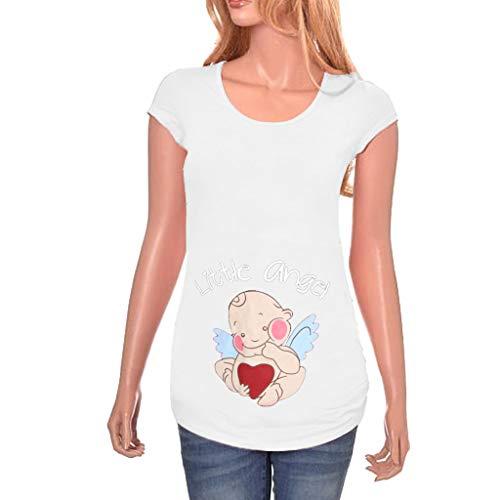Battnot Damen Umstandsmode Blusen Sommer T-Shirts, Frauen Schwangere Mutterschaft Umstandstops Stilloberteile Tunika Lustig Baby Gedruck Kurzarm Rundhals Freizeit Bequeme Mom Kleidung Hemden S-3XL