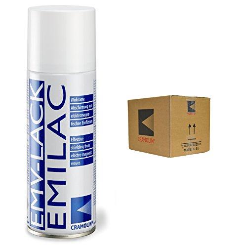 EMV-LACK - VPE: 12 x 200ml Spraydose - hochleitfähiger Überzug auf Kupferbasis - ITW Cramolin - 1241411 - Wirksame Abschirmung von elektromagnetischen Einflüssen, inkl. 6 St. DEWEPRO® SingleScrubs