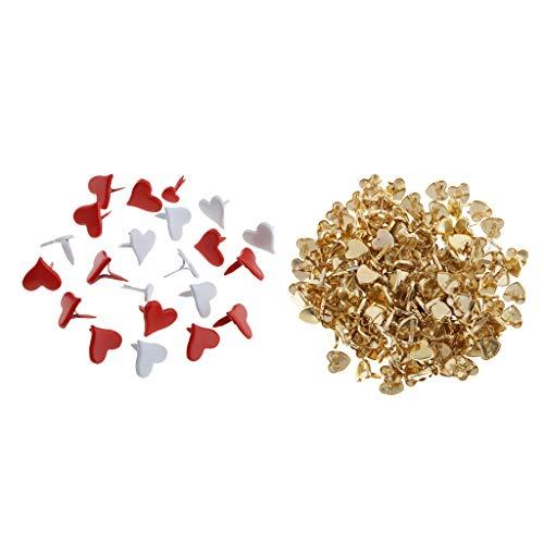 Baosity - 300 sujetadores de papel con forma de corazón (9/11 mm, latón, metal pastel, para álbumes de recortes, manualidades, 10 mm)