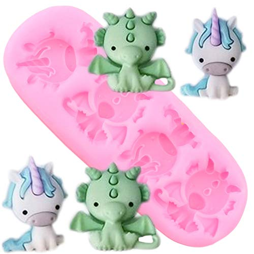 GMTEXTILES 3D Unicorn Dragon Silicone Mold Cupcake Topper Fondant Molds Diy Cake Decorating Tools Resin Clay Candy Chocolate Gumpaste Mould