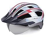 KINGLEAD Fahrradhelm für Erwachsene Herren Damen mit USB-aufladbare LED-Licht, magnetischer Goggle und Abnehmbarer Visier, CE zertifizierter Mountainbike MTB Helm Radhelm Rennradhelm