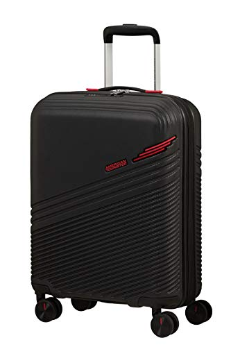 American Tourister Triple Trace Luggage- Carry-On Luggage, S (55 cm - 46 L), Schwarz (Black/Red)