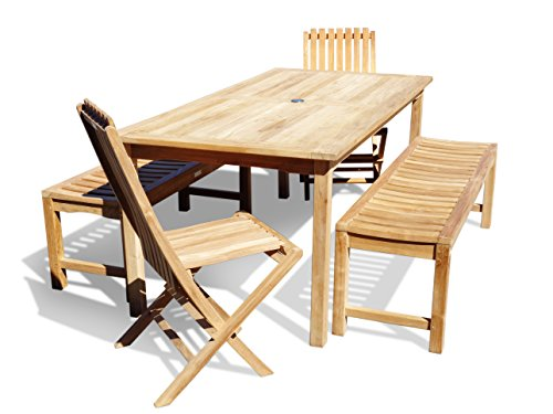 "Windsor's, Premium Grade A Teak Dining Set, 71""x 35"" Rectangular Table w/2 59 "" Benches & 2 Folding Chairs, Seats 8, 5 Yr Wrty, World's Best Outdoor Furniture! Teak Lasts A Lifetime!"