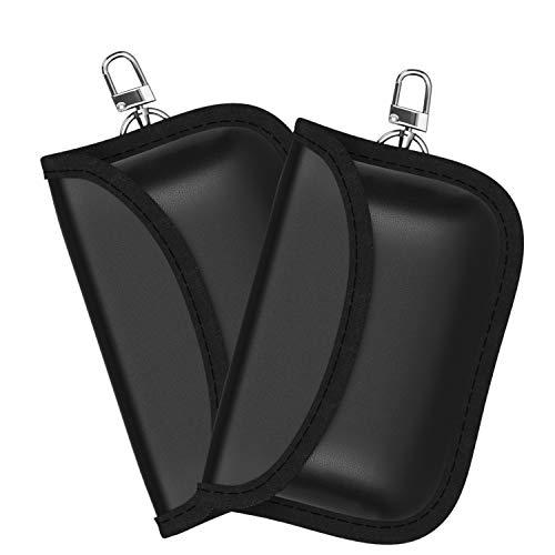 2X Autoschlüsseletui mit Schutz für Keyless Go und Strahlenschutz - Zum Schutz gegen Daten und KFZ-Diebstahl (Schwarz, 2er Set)