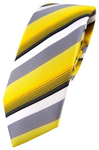 TigerTie schmale Designer Krawatte in gelb grau weiss schwarz anthrazit gestreift - Schlips Tie