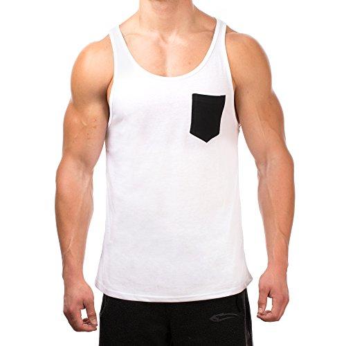 SMILODOX Tank Top Herren mit Brustasche | Muskelshirt ideal für Sport Gym Fitness & Bodybuilding | Muscle Shirt - Stringer - Tanktop - Unterhemd - Achselshirt, Farbe:Weiss/Schwarz, Größe:XL