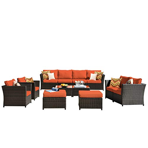 ovios Patio Furniture Set, Backyard Sofa Outdoor Furniture 12 Pcs Sets,PE Rattan Wicker sectional with 2 Pillows and 2 Piece Patio Furniture Cover, No Assembly Required (12 Piece, Orange red)