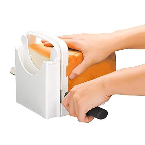 Wovatech Trancheuse à Pain - Coupe-Pain Pliable réglable pour Couper Le Pain et Le gâteau - Planche à découper à Pain avec 5 épaisseurs de Tranche