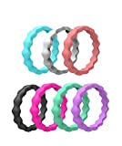 Kebaner 7 Pack 3mm Silicone Wave Stackable Thin Wedding Bands Comfortable fit Skin Safe Rubber Rings 5