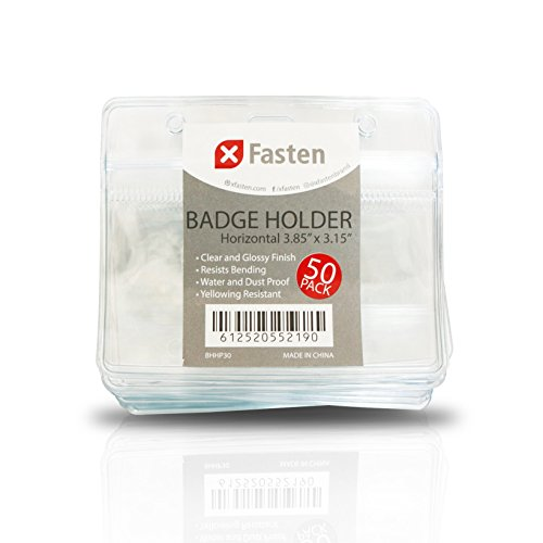 XFasten Waterproof PVC Horizontal ID Card Badge Holder, Clear and Yellowing Resistant, Pack of 50 Proximity and Cruise Plastic Card Holder Pouch with Resealable Zip
