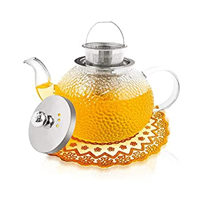 1000ml Glass Teapot for Stovetop Safe with Frosted Pattern, THICKER Heat Resistant Borosilicate Glass Teapot with Infusers for Loose Tea (In Perfect Package & Trivet Mat Ready Packing) by Sybom