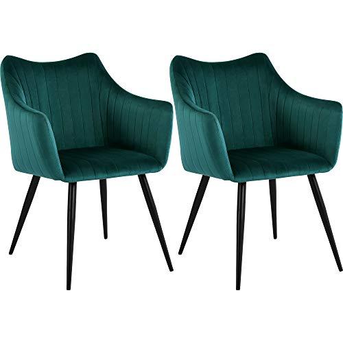 DORAFAIR 2er Set Vintager Retro Stuhl Sessel Polstersessel Samt, Esszimmerstühle mit Metallbein, Dunkelgrün