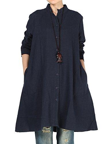 Vogstyle Damen Herbst Baumwolle Leinen Voller vorderer Knopf Blouse Kleid mit Taschen Style 1 X-Large Navy