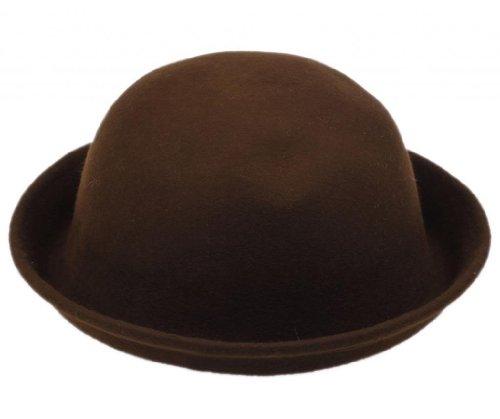 Bigood Bigood Melone Mütze Filz Hut Filzhut Bowler Chaplin Hat Reithut Wintermütze Braun