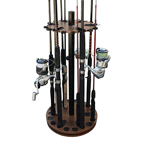 Rush Creek Creations 24 Round Spinning Fishing Rod/Pole Storage Floor Rack Dark Walnut Finish - Features Heavy Duty Steel Post - No Tool Assembly