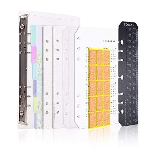 Larcenciel A5 Cuaderno,6 anillos recargables cuaderno, diario, planificador personal, diario de viaje, agenda, portada, bloc de notas+90 Insertar página+6 Índice Dividir+Regla+Calendario+Tarjeta