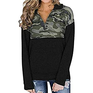 Women's Casual Long Sleeve 1/4 Zipper Color Block Sweatshirts Stand Collar Pullover Tunic Tops with Pockets S-XXL
