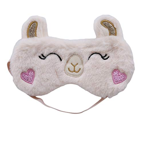 LnLyin Alpaka Augenmaske Niedlichen Tier Cartoon Design Schlafmaske Komfortable Plüsch Stoffe Schlaf Augenmaske für Home Reise