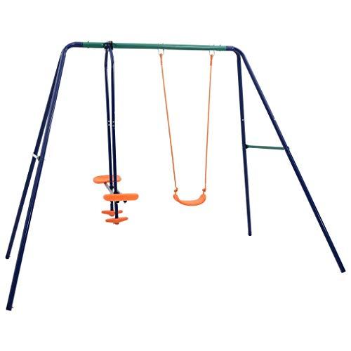 vidaXL Schaukelset mit 3 Sitzen Schaukelgestell Schaukelgerüst Kinderschaukel Garten Schaukel Wippe Gartenschaukel Spielplatz Set Stahl