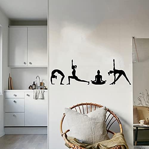 Pegatinas de vinilo decoración del hogar Mural artístico Yoga Pose silueta ortografía Yoga Studio Fitness Namaste calcomanía otro color 40x120cm
