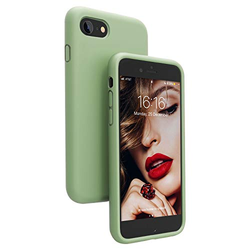 JASBON iPhone SE Case 2020, iPhone 8 Case, iPhone 7 Silicone Case Rubber Gel Shockproof Cover Drop Protection with Soft Microfiber Liner for iPhone 7/8/SE 2020 4.7 inch - Matcha Green