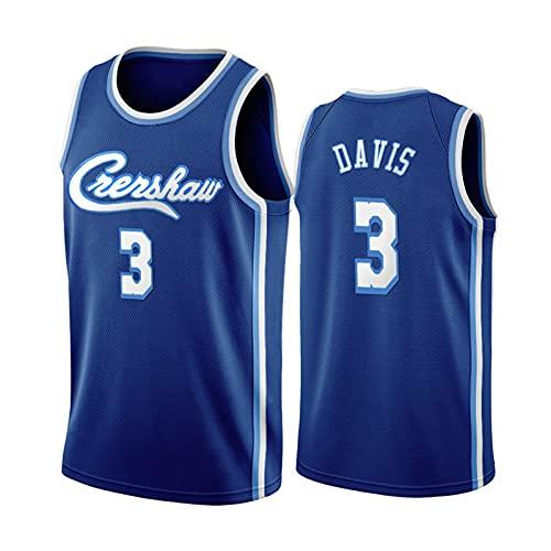 Camisa de Baloncesto de Davis # 3, Uniforme de Baloncesto de los Hombres de Hip-Hop de 90s, Espacio de Cine Espacial, Azul S-XXL. Niños/Uniformes de Baloncesto Juv Blue-L